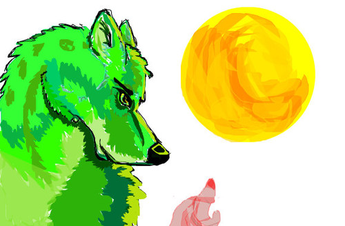Green wolf by Firestar