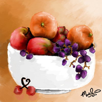 Bowl of fruit by artmaniac14