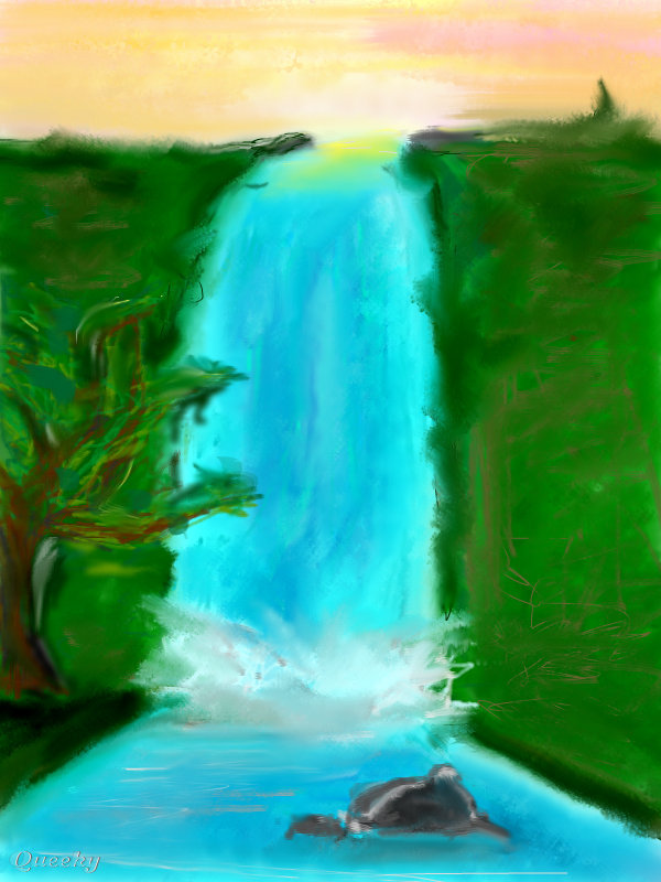 Waterfall ← an abstract Speedpaint drawing by ...