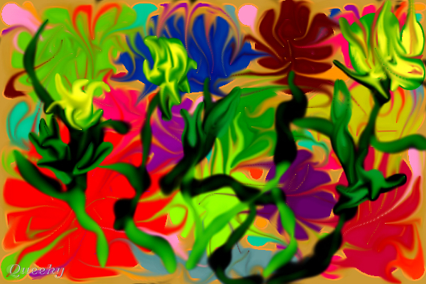 jungle flowers  u2190 an abstract speedpaint drawing by