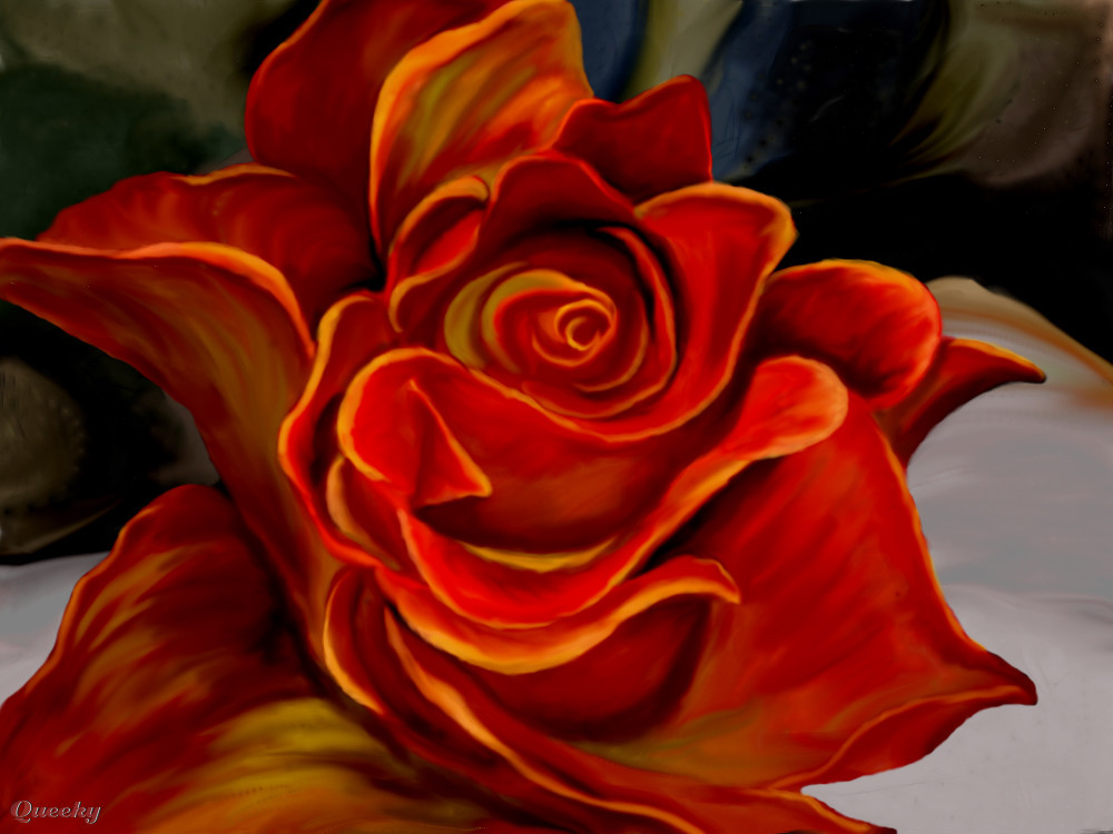 Orange Rose An Abstract Speedpaint Drawing By