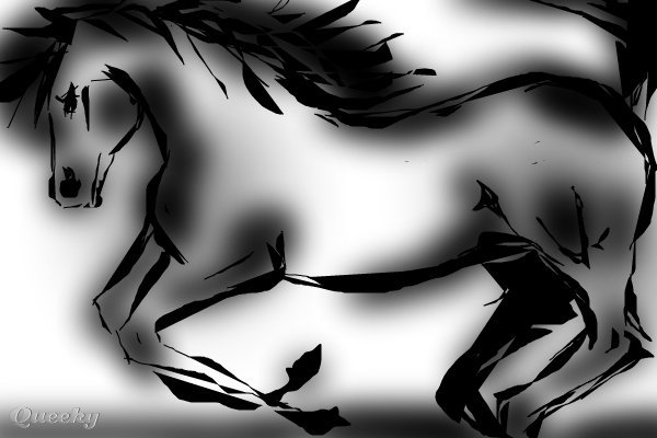 Horses Drawing - Horses Fine Art Print Black and white horse ← an animals