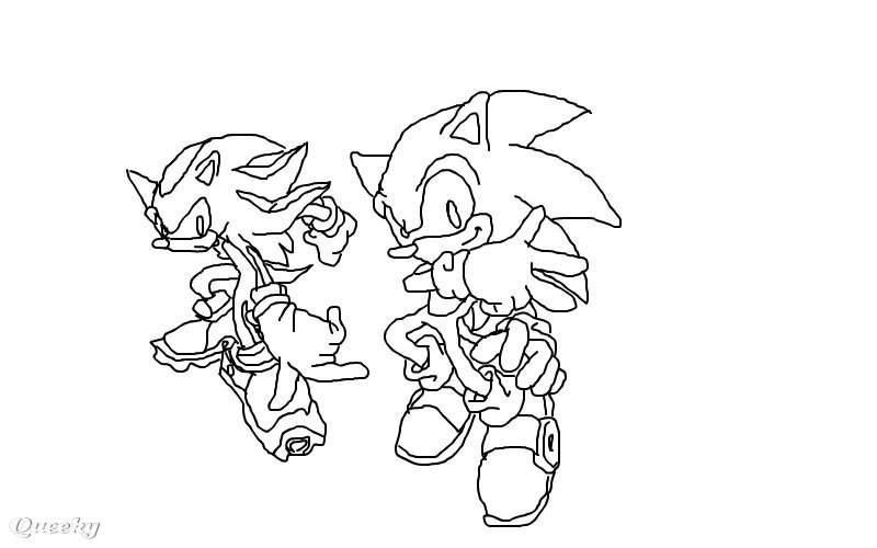 Sonic and Shadow  an anime Speedpaint drawing by Ichigo0383