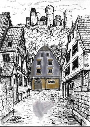 Medieval Village Jpg An Architecture Speedpaint Drawing