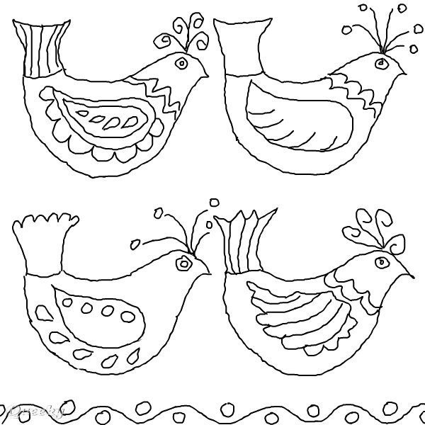 Bird folk art a black white speedpaint drawing by for Folk art coloring pages