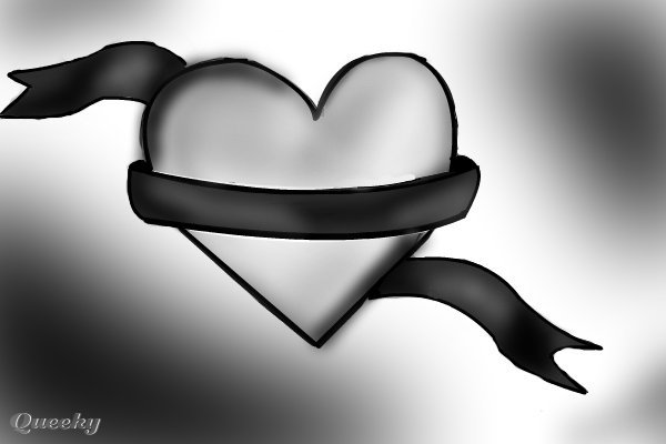 Heart ribbon ← a black--white drawing by Kay14 . Queeky - draw online!