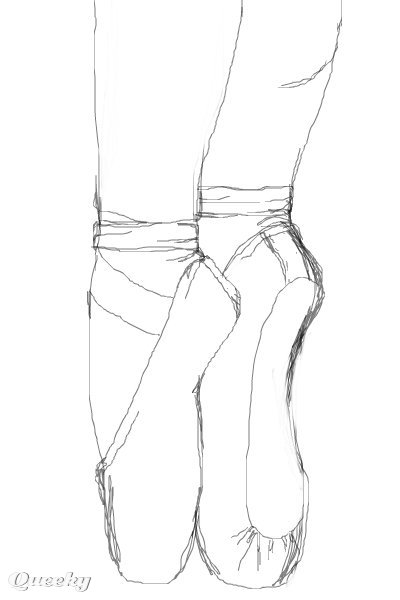 Pointe Shoes Sketch on silhouette ballerina slippers