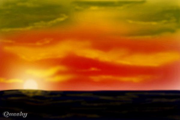 Ocean sunset ← a landscape Speedpaint drawing by ...