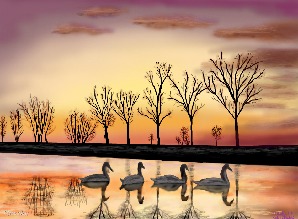 Sunset Swans ← a landscape Speedpaint drawing by ...