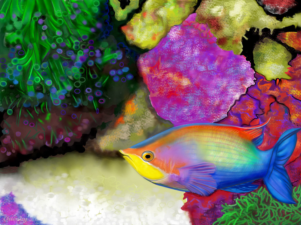 Fish under water a landscape speedpaint drawing by betty for Fish scenery drawing