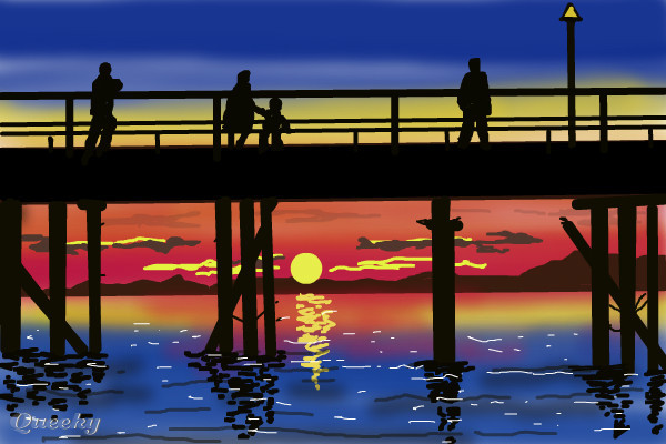 Sunset behind the pier ← a landscape Speedpaint drawing by ...