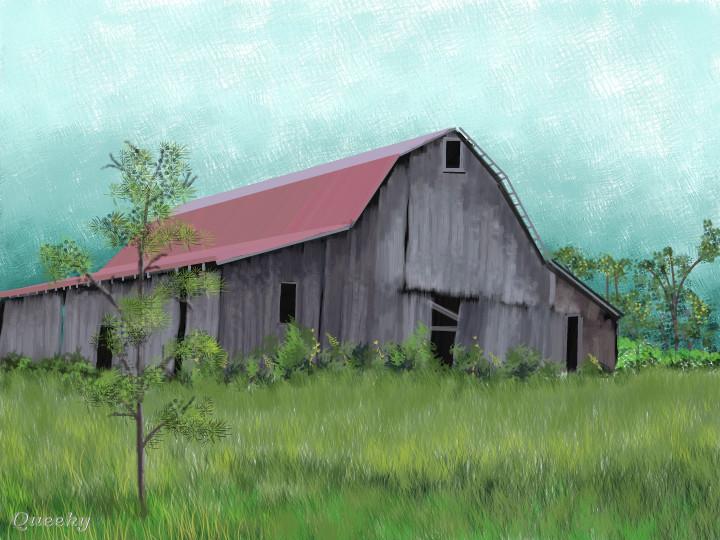 Old Kentucky Barn A Landscape Speedpaint Drawing By