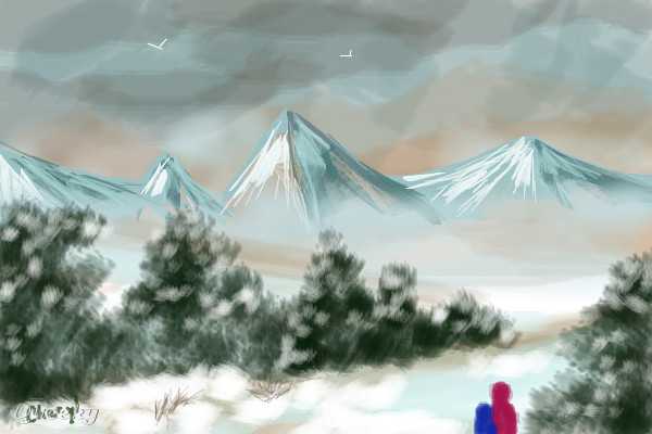 How to draw snowy mountain