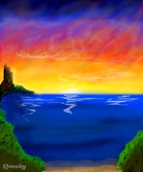 paradise beach  u2190 a landscape speedpaint drawing by treenee