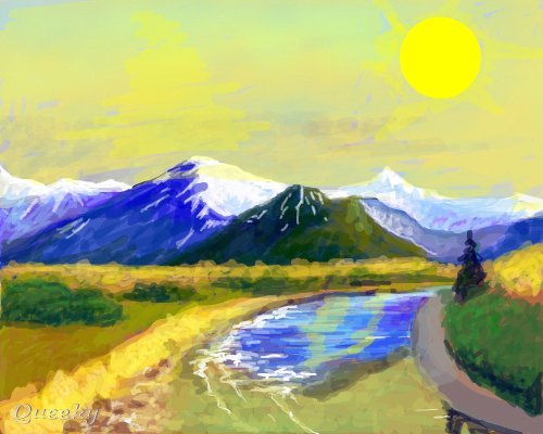 Line Drawing Sunny Day : Sunny day ← a landscape speedpaint drawing by michael