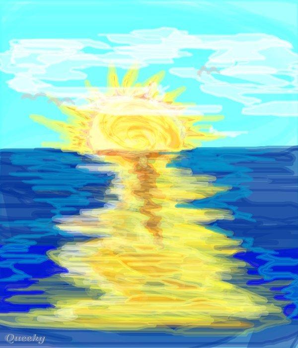 Ocean sunset ← a landscape Speedpaint drawing by Jcheeren ...