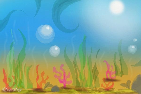 underwater  u2190 a landscape speedpaint drawing by sukai