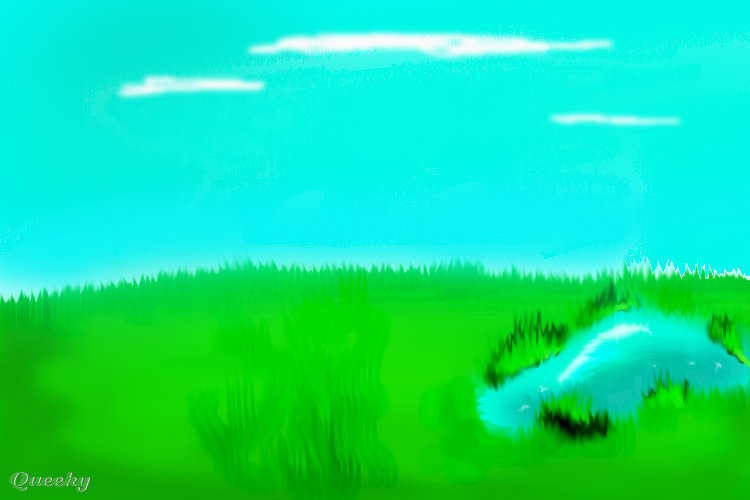 how to draw a pond scene
