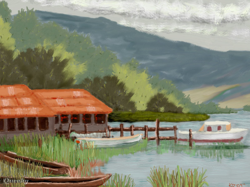 Boat Scenery Drawing Image Url