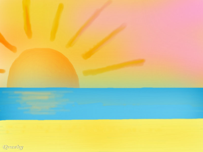 Sunset by the beach ← a landscape drawing by Mewchan130 .