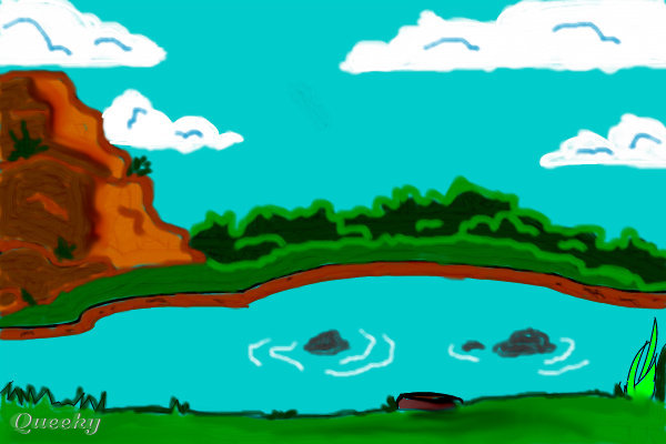 Pond A Landscape Speedpaint Drawing By Toon1334 Queeky