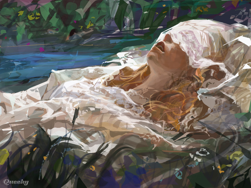 Drawing Lines With Oil Paint : Ophelia ← a portrait speedpaint drawing by z queeky