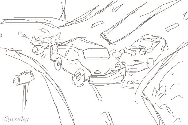 Colouring Pages Of Car Crash : Car accident draw sketch