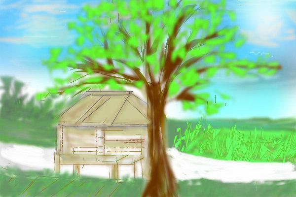 Nipa Hut Drawing Nipa Hut Near Farm