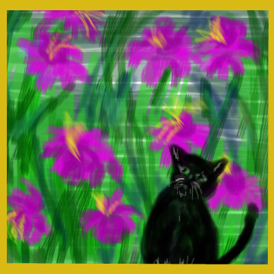 cat-among-flowers