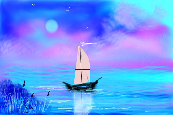 Boat Scenery Drawing Lone-boat